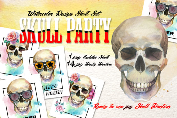 Print on Demand: Skull Party Print Watercolor Set Graphic Illustrations By MyStocks