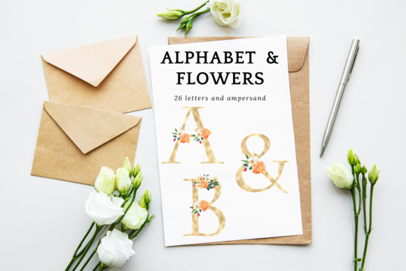 Spring Floral Printable Alphabet Set Graphic Illustrations By Aneta Design