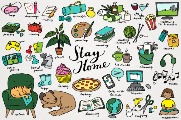 Stay Home Quarantine Clipart Set Gráfico Ilustraciones Por LemonadePixel