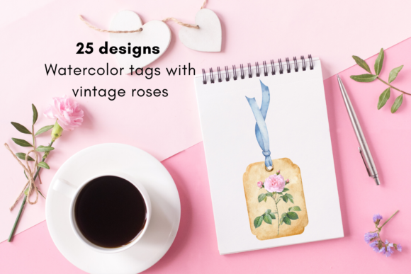 Tags for Scrapbooking with Roses Graphic Illustrations By Aneta Design
