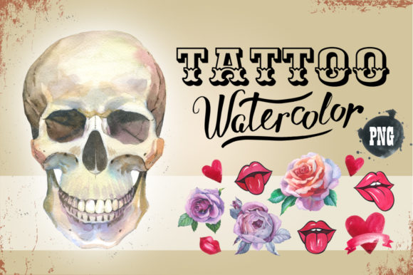 Print on Demand: Tattoo Watercolor Set Skull Graphic Illustrations By MyStocks