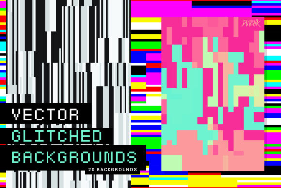 Vector Glitched Backgrounds Graphic Backgrounds By dvtchk