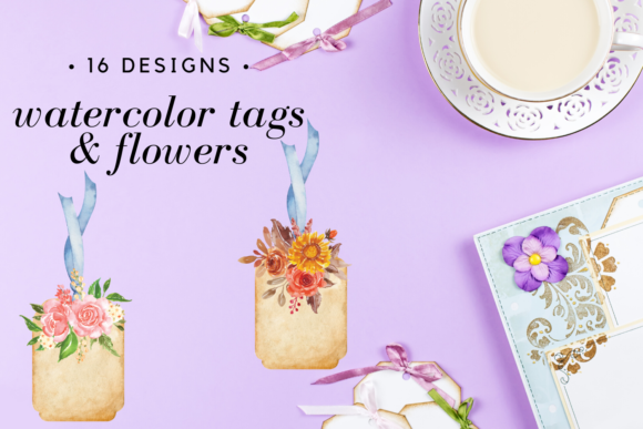 Watercolor Floral Gift Tags Set Graphic Illustrations By Aneta Design