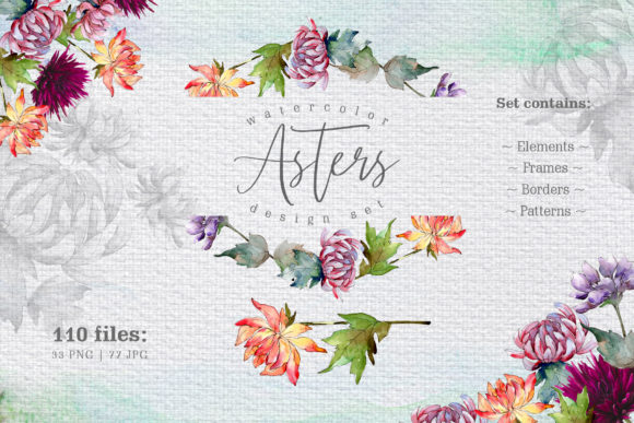 Print on Demand: Watercolor Asters Design Set Graphic Illustrations By MyStocks