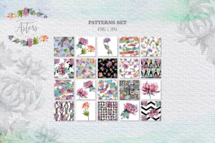 Print on Demand: Watercolor Asters Design Set Graphic Illustrations By MyStocks 5