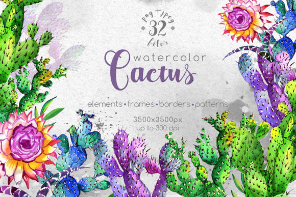 Print on Demand: Watercolor Cactuses Wildflower Set Graphic Illustrations By MyStocks
