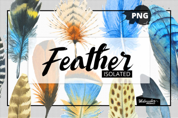 Print on Demand: Watercolor Feather and Patterns Graphic Illustrations By MyStocks