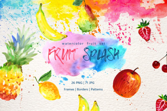 Watercolor Fruits Set Graphic
