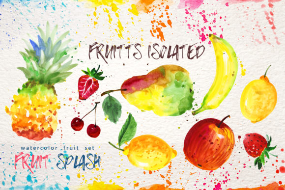 Watercolor Fruits Set Graphic Download