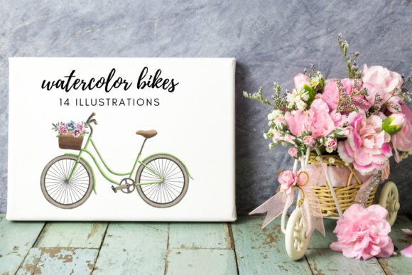 Watercolor Illustrations of Bikes Set Graphic Illustrations By Aneta Design