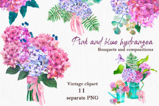 Print on Demand: Watercolor Pink and Blue Hydrangea Graphic Illustrations By ElenaZlataArt