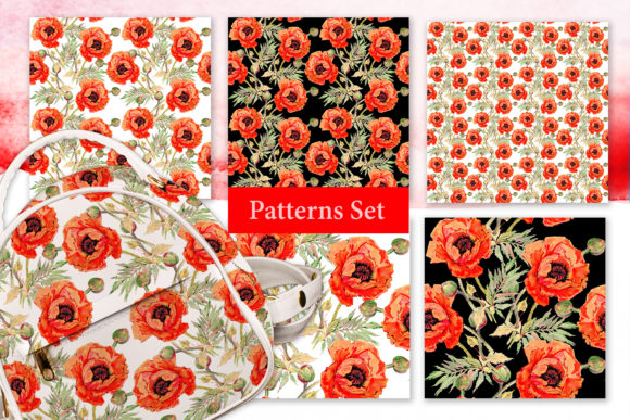 Print on Demand: Watercolor Red Poppy Set Graphic Illustrations By MyStocks - Image 3