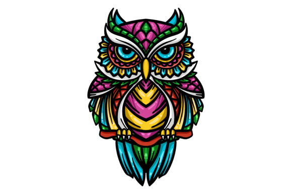 Colorful Owl Zentangle Art Illustration Graphic Illustrations By maniacvector