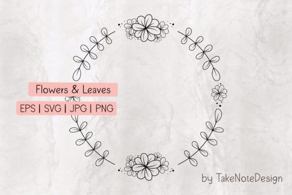 Flowers & Leaves Circle Graphic Crafts By TakeNoteDesign