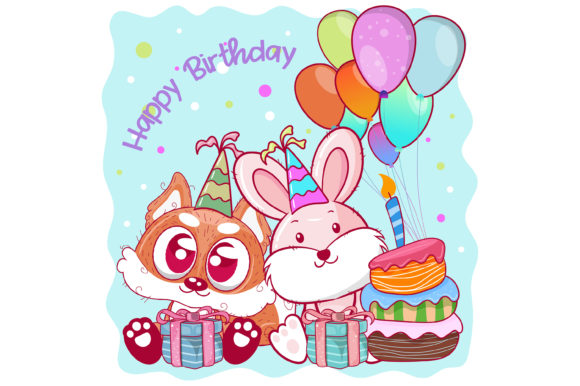 Happy Birthday Card with Cute Fox Gráfico Ilustraciones Por maniacvector