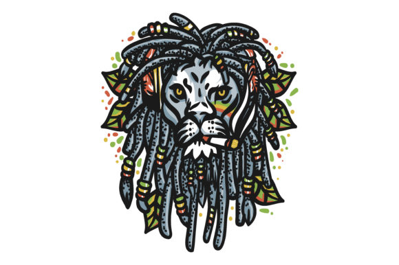 Lion Head Marijuana Graphic Illustrations By maniacvector