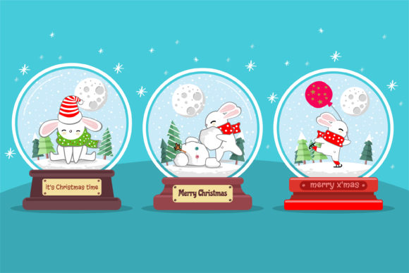 Snow Globe Christmas Set Graphic Illustrations By onoborgol