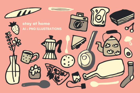 Print on Demand: Stay at Home Pattern Elements Graphic Illustrations By lunarctic