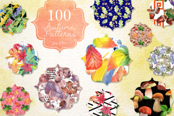 Print on Demand: 100 Autumn Patterns Watercolor Set Graphic Illustrations By MyStocks