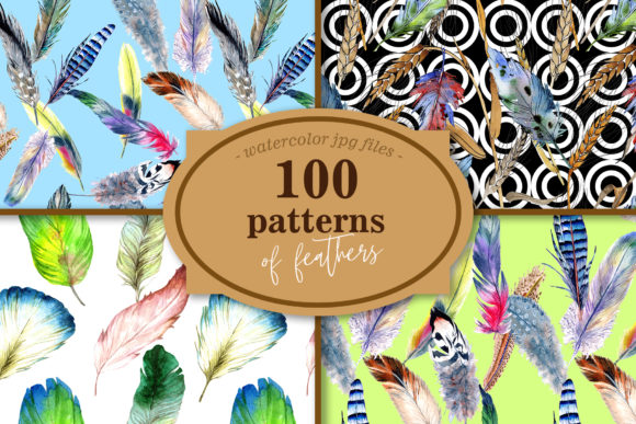 Print on Demand: 100 Patterns of Feather Watercolor Set Graphic Illustrations By MyStocks