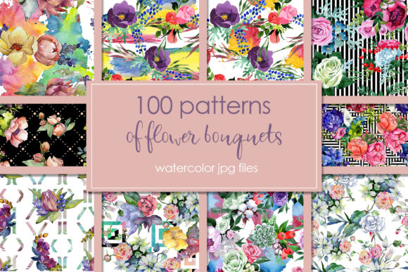 Print on Demand: 100 Patterns of Flower Bouquets Watercolor Set Graphic Illustrations By MyStocks