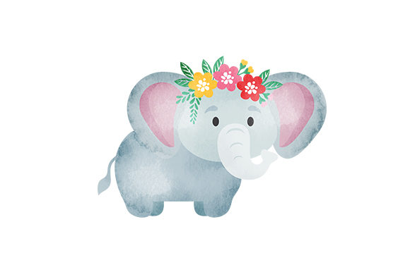 Baby Elephant with Flower Crown Animals Craft Cut File By Creative Fabrica Crafts