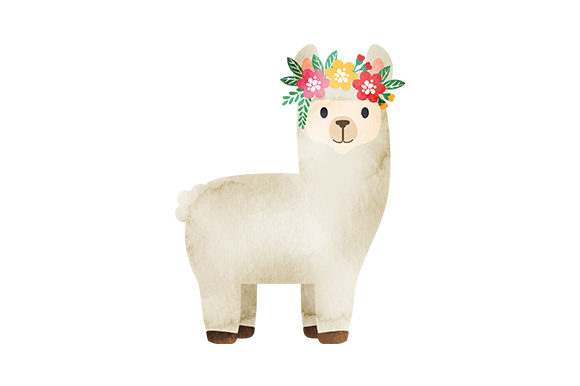Baby Llama with Flower Crown Animals Craft Cut File By Creative Fabrica Crafts - Image 1