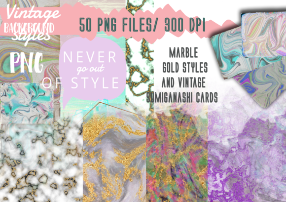 50 Marbled and Vintage Textures Graphic Print Templates By Anna Tarach