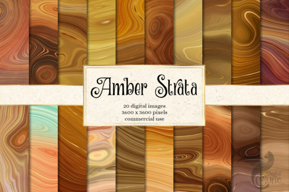 Print on Demand: Amber Strata Digital Paper Graphic Textures By Digital Curio