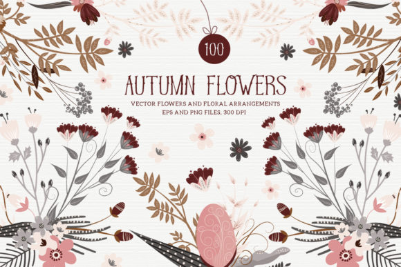 Print on Demand: Autumn Vector Flowers Graphic Illustrations By webvilla
