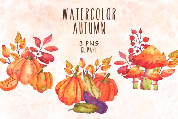 Print on Demand: Autumn Watercolor Clipart Graphic Illustrations By VashaRisovasha