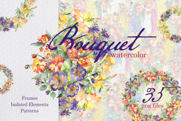 Print on Demand: Beautiful Bouquets Watercolor Graphic Illustrations By MyStocks