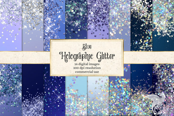 Print on Demand: Blue Holographic Glitter Digital Paper Graphic Textures By Digital Curio