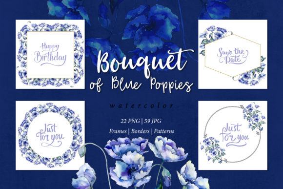 Print on Demand: Bouquet of Blue Poppies Watercolor Set Graphic Illustrations By MyStocks