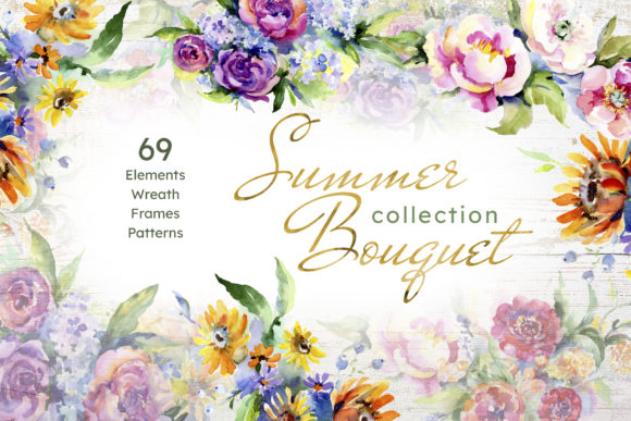 Print on Demand: Bouquet of Flowers Between Heaven Graphic Illustrations By MyStocks