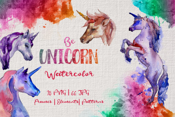 Print on Demand: Colorful Unicorn Horse Watercolor Set Graphic Illustrations By MyStocks