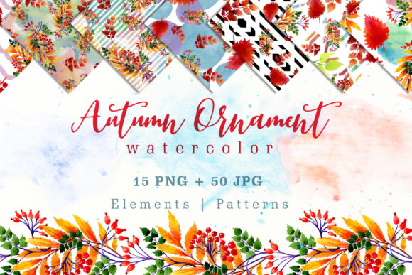 Print on Demand: Cool Autumn Ornament Watercolor Set Graphic Illustrations By MyStocks