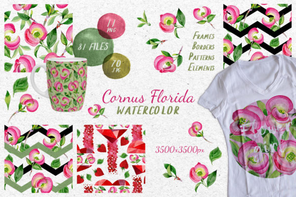 Print on Demand: Cornus Florida Flowers Watercolor Set Graphic Illustrations By MyStocks