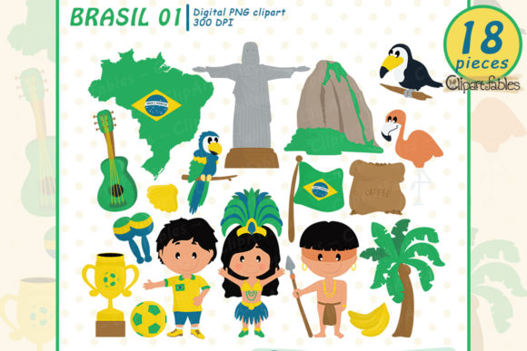 Cute Brasil Clipart, Brasilian Clip Art Graphic Illustrations By clipartfables