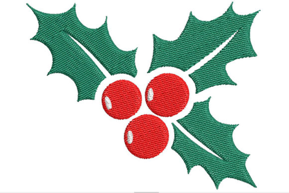 Cute Christmas Holly Leaves and Berries Embroidery