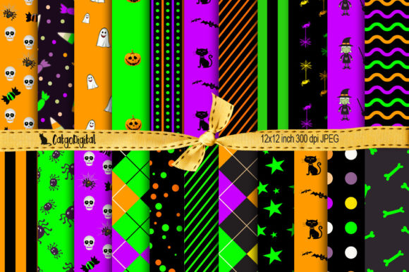 Print on Demand: Cute Halloween Patterned Papers Graphic Patterns By CatgoDigital