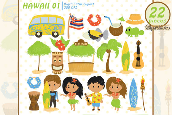 Cute Hawaii Clipart, Luau Party Graphic Illustrations By clipartfables