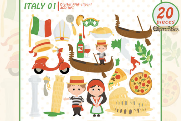 Cute Italy Clipart, Rome Clipart Design Graphic Illustrations By clipartfables
