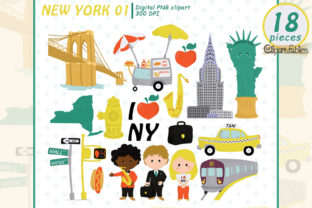 Cute New York Clipart, Travel Clip Art Graphic Illustrations By clipartfables