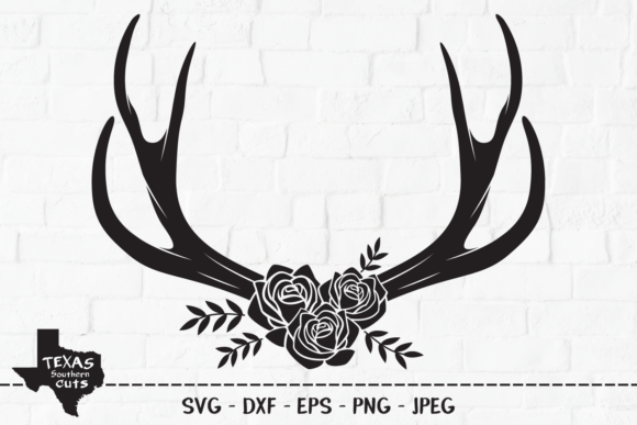 Print on Demand: Deer Antlers - Floral Rose Antler Design Graphic Crafts By texassoutherncuts