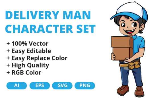 Print on Demand: Delivery Man Character Set Vector Design Graphic Illustrations By JunioR Creative