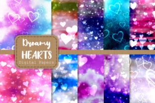 Print on Demand: Dreamy Love Heart Shape Pattern Papers Graphic Backgrounds By Prawny