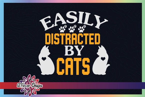 Easily Distracted by Cats Cat Pawprint Graphic Crafts By ssflower
