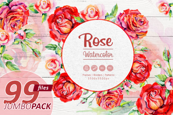 Print on Demand: Elegant Red Roses Watercolor Set Graphic Illustrations By MyStocks