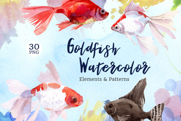 Print on Demand: Fairytale Red Goldfish Watercolor Gráfico Ilustraciones Por MyStocks
